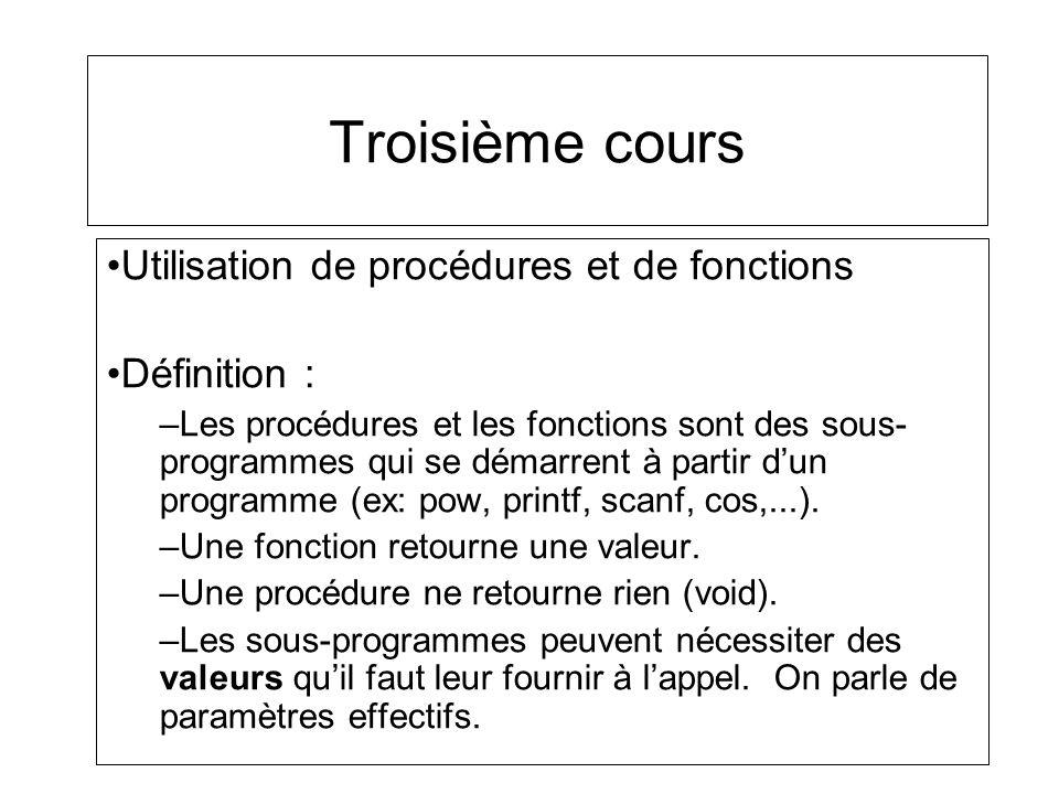 Troisième cours Utilisation de procédures et de fonctions Définition :