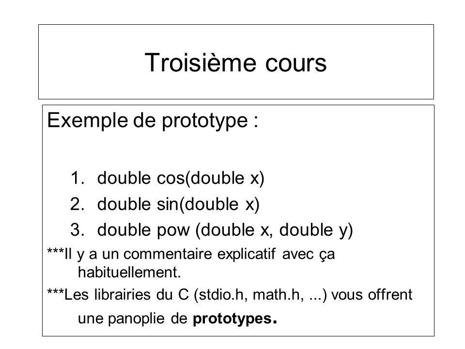 Troisième cours Exemple de prototype : double cos(double x)