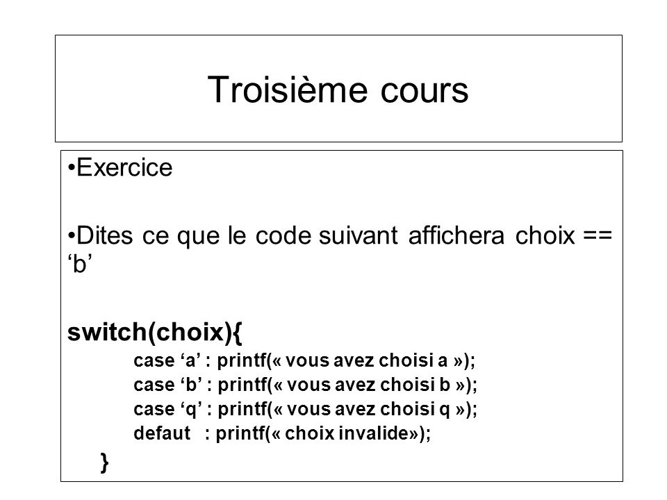 Troisième cours Exercice
