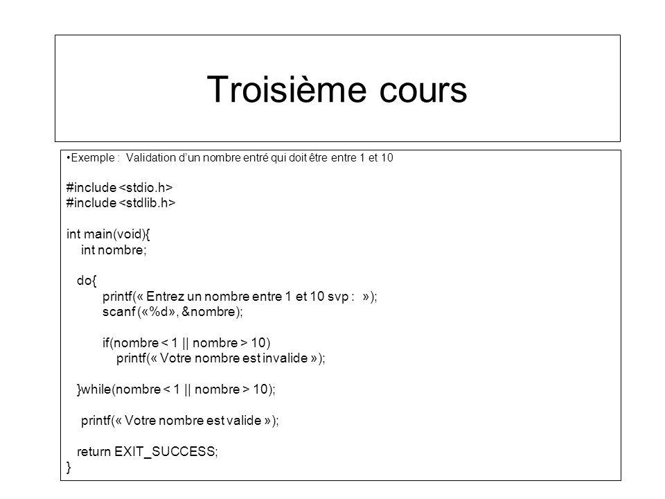 Troisième cours #include <stdio.h> #include <stdlib.h>
