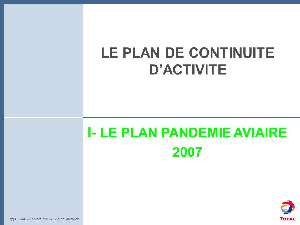 LE PLAN DE CONTINUITE D'ACTIVITE I- LE PLAN PANDEMIE AVIAIRE 2007