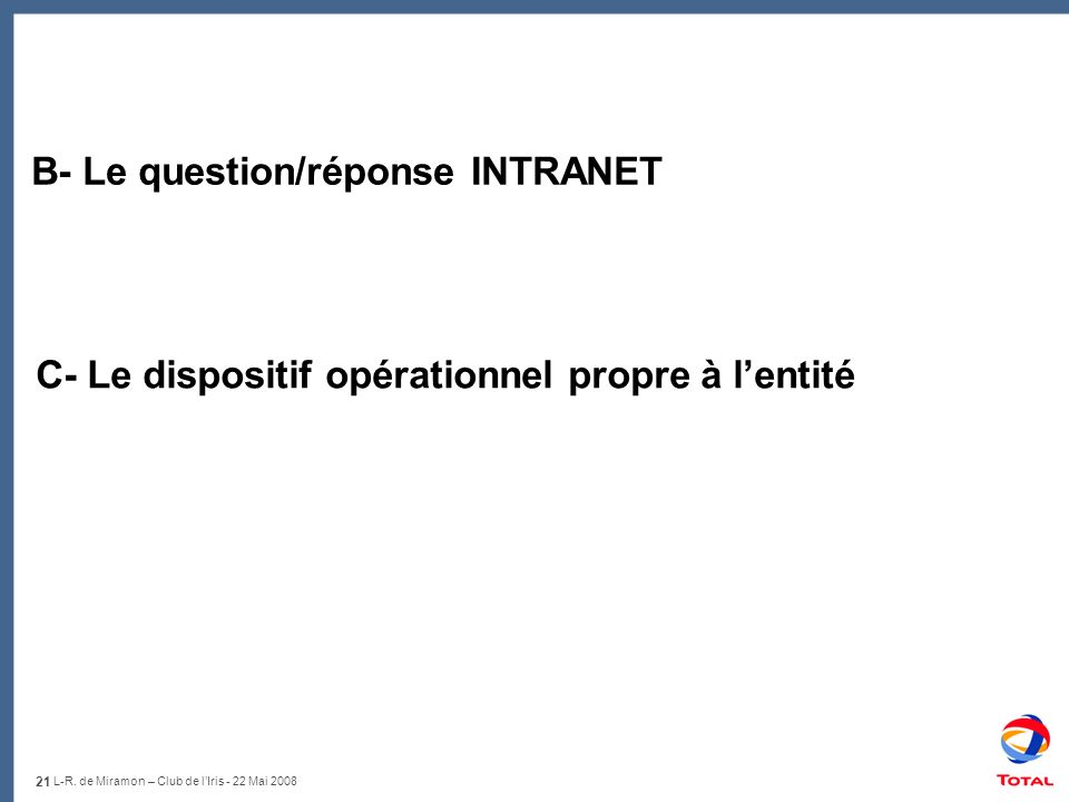 B- Le question/réponse INTRANET