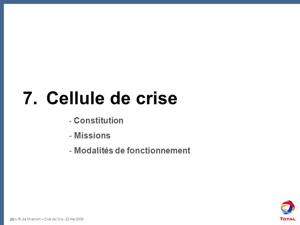 7. Cellule de crise Missions Modalités de fonctionnement Constitution