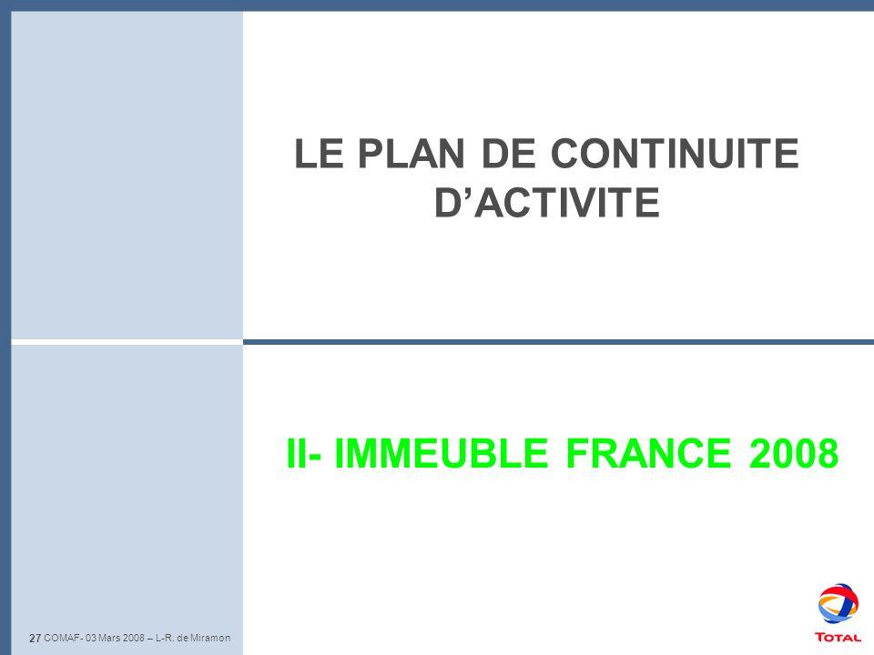 LE PLAN DE CONTINUITE D'ACTIVITE