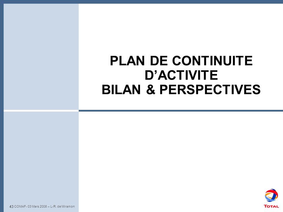 PLAN DE CONTINUITE D'ACTIVITE BILAN & PERSPECTIVES