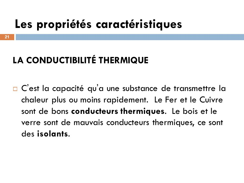 Les propriétés caractéristiques