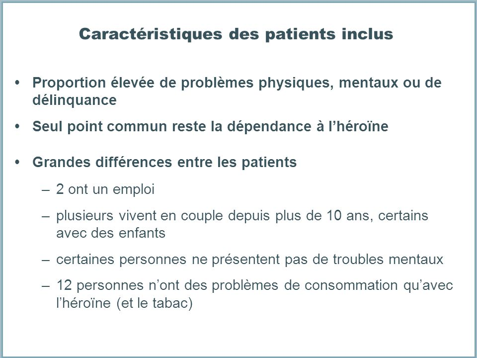 Caractéristiques des patients inclus