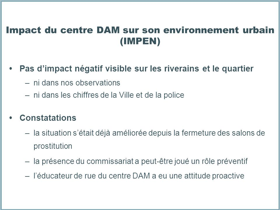 Impact du centre DAM sur son environnement urbain (IMPEN)