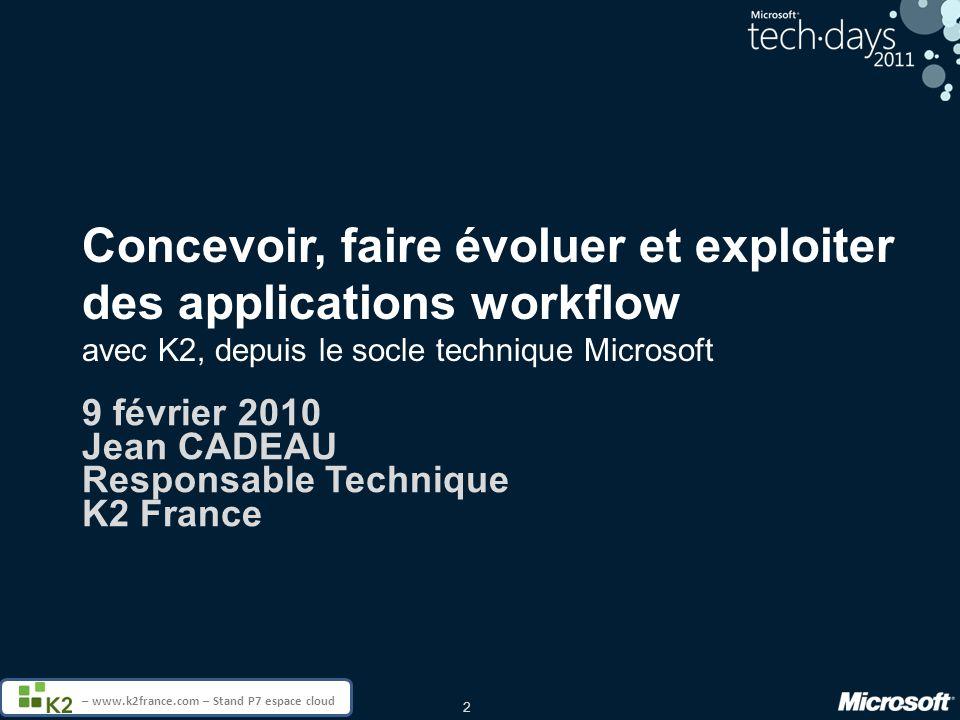 9 février 2010 Jean CADEAU Responsable Technique K2 France