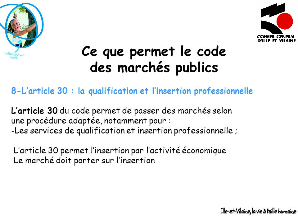 Ce que permet le code des marchés publics