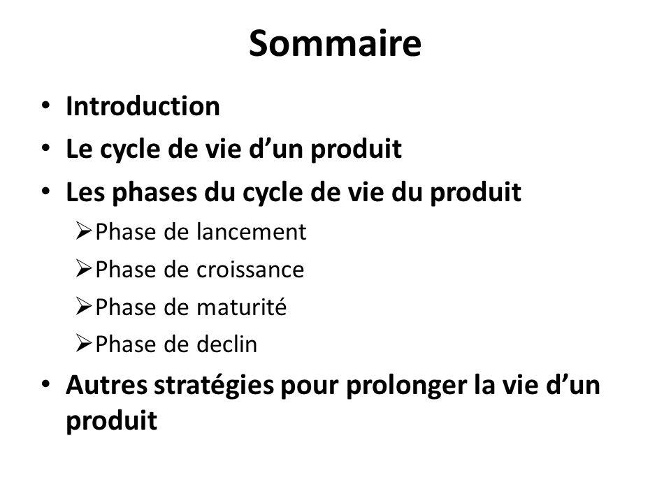 Sommaire Introduction Le cycle de vie d'un produit