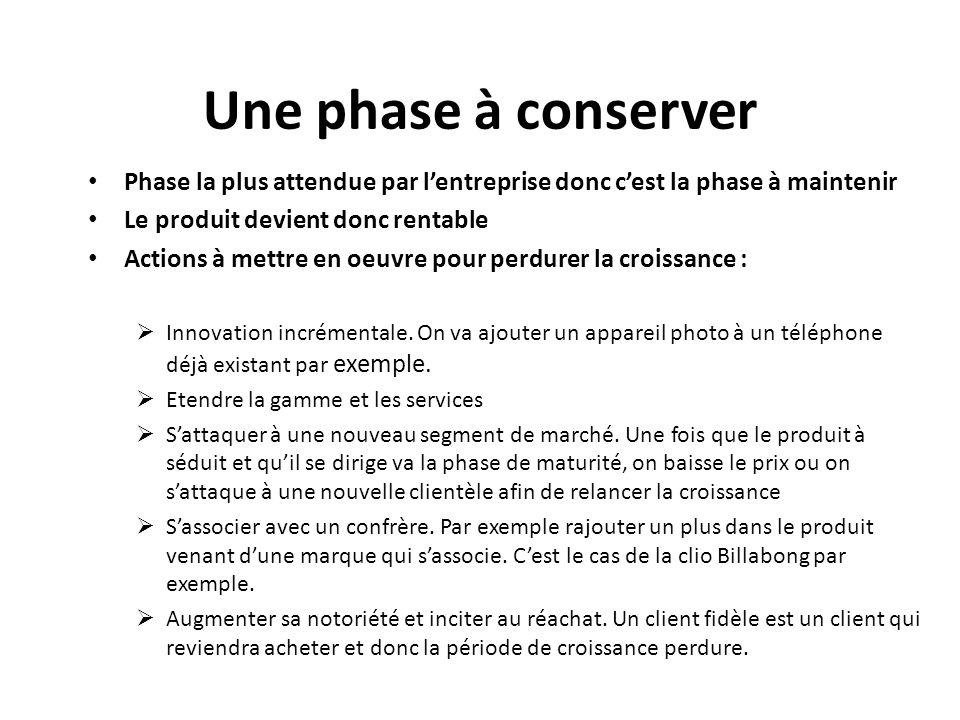 Une phase à conserver Phase la plus attendue par l'entreprise donc c'est la phase à maintenir. Le produit devient donc rentable.