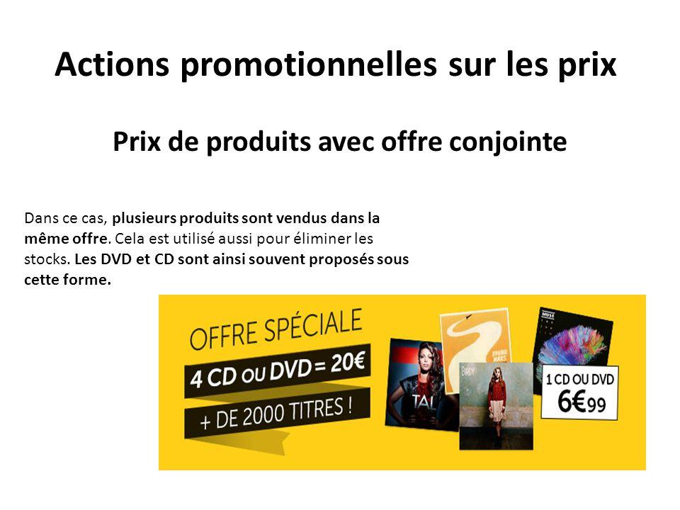 Actions promotionnelles sur les prix
