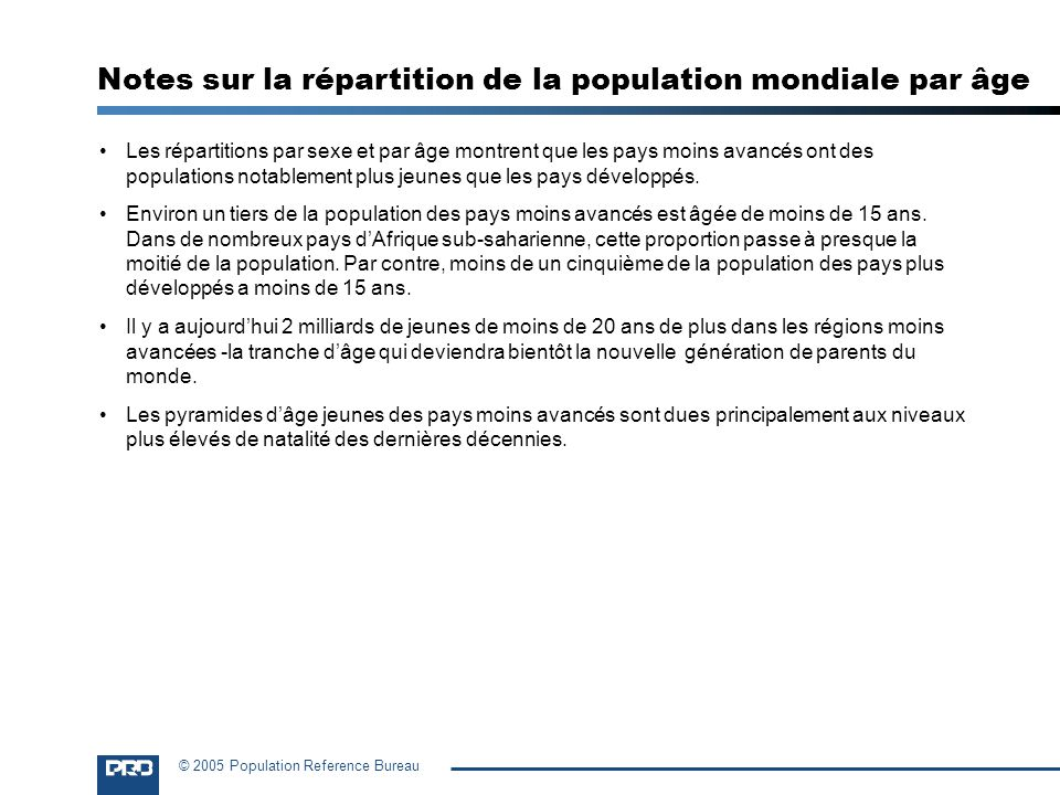 Notes sur la répartition de la population mondiale par âge