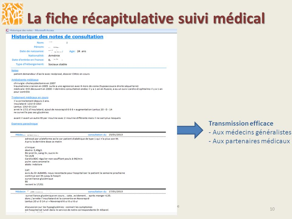 La fiche récapitulative suivi médical
