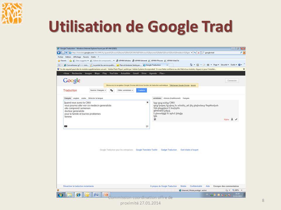 Utilisation de Google Trad