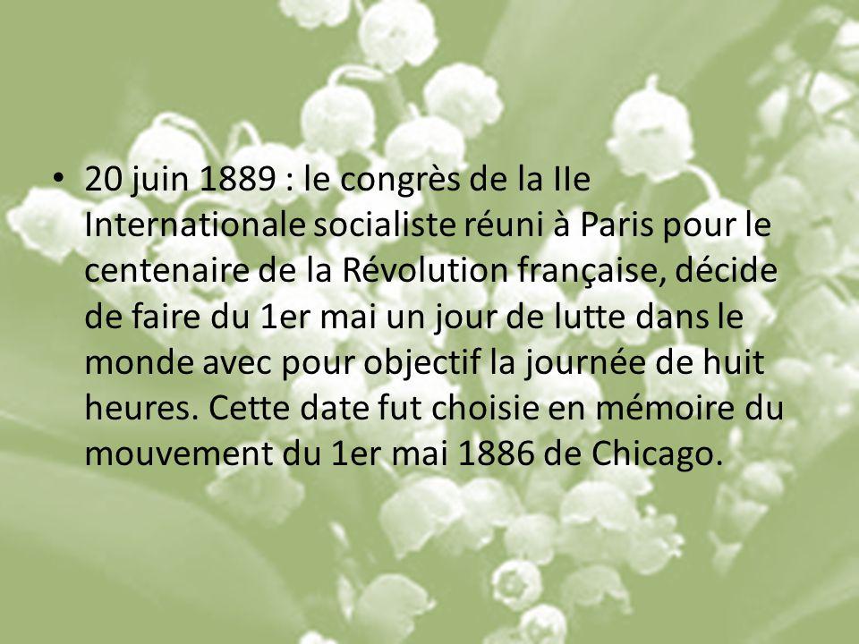 20 juin 1889 : le congrès de la IIe Internationale socialiste réuni à Paris pour le centenaire de la Révolution française, décide de faire du 1er mai un jour de lutte dans le monde avec pour objectif la journée de huit heures.