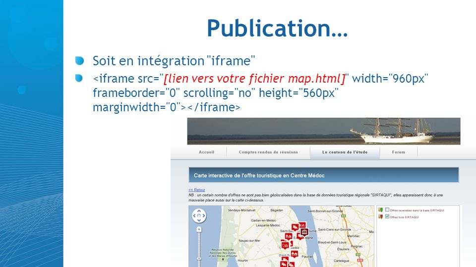 Publication… Soit en intégration iframe