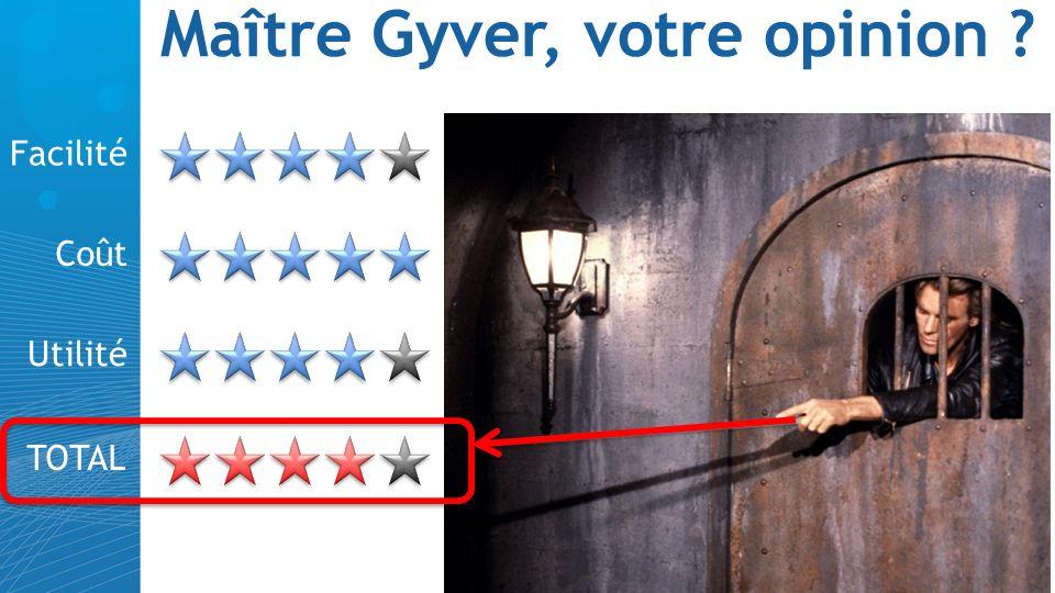 Maître Gyver, votre opinion