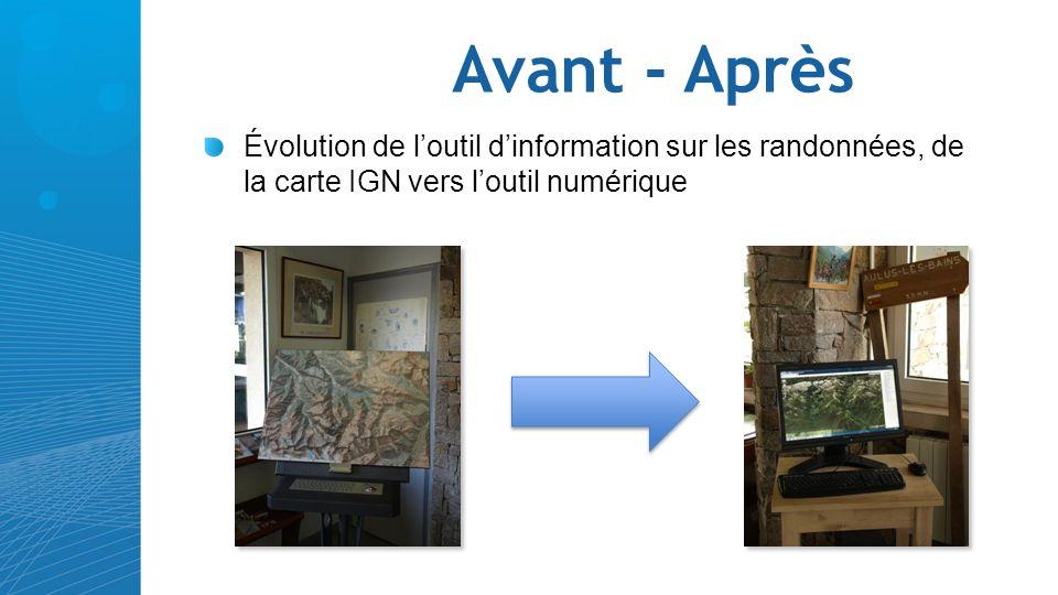 Avant - Après Évolution de l'outil d'information sur les randonnées, de la carte IGN vers l'outil numérique.