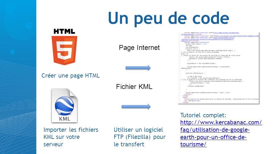 Un peu de code Page Internet Fichier KML Créer une page HTML