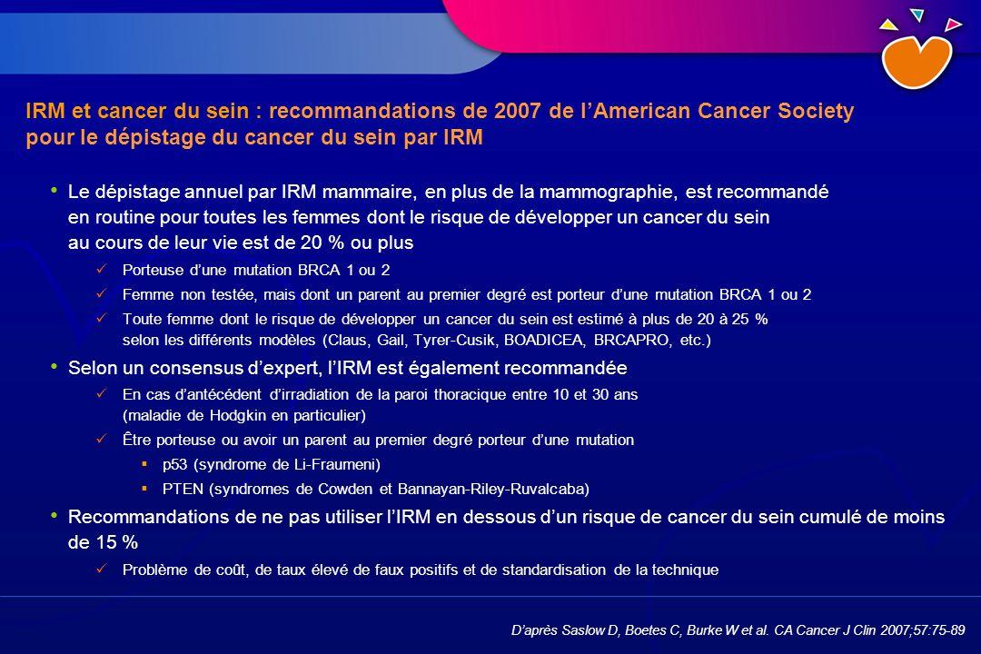 IRM et cancer du sein : recommandations de 2007 de l'American Cancer Society pour le dépistage du cancer du sein par IRM