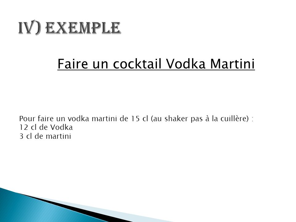 Faire un cocktail Vodka Martini