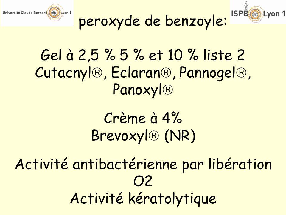 Le peroxyde de benzoyle: Gel à 2,5 % 5 % et 10 % liste 2