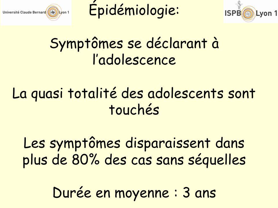 Symptômes se déclarant à l'adolescence