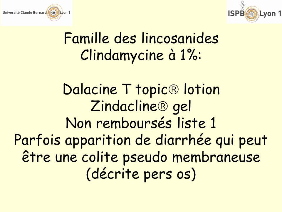 Famille des lincosanides Clindamycine à 1%: Dalacine T topic lotion