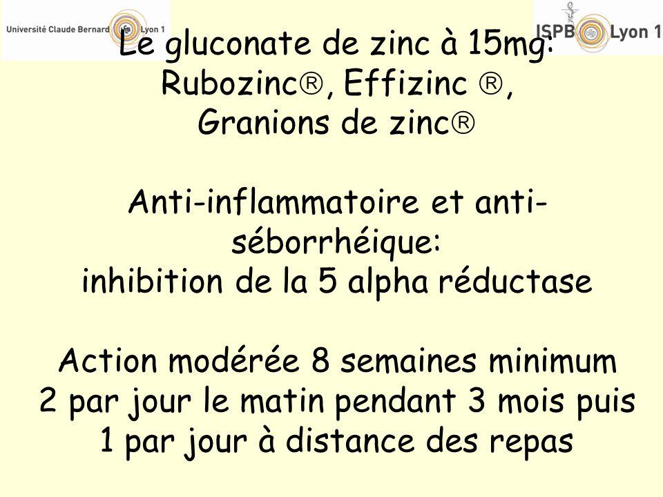 Le gluconate de zinc à 15mg: Rubozinc, Effizinc , Granions de zinc