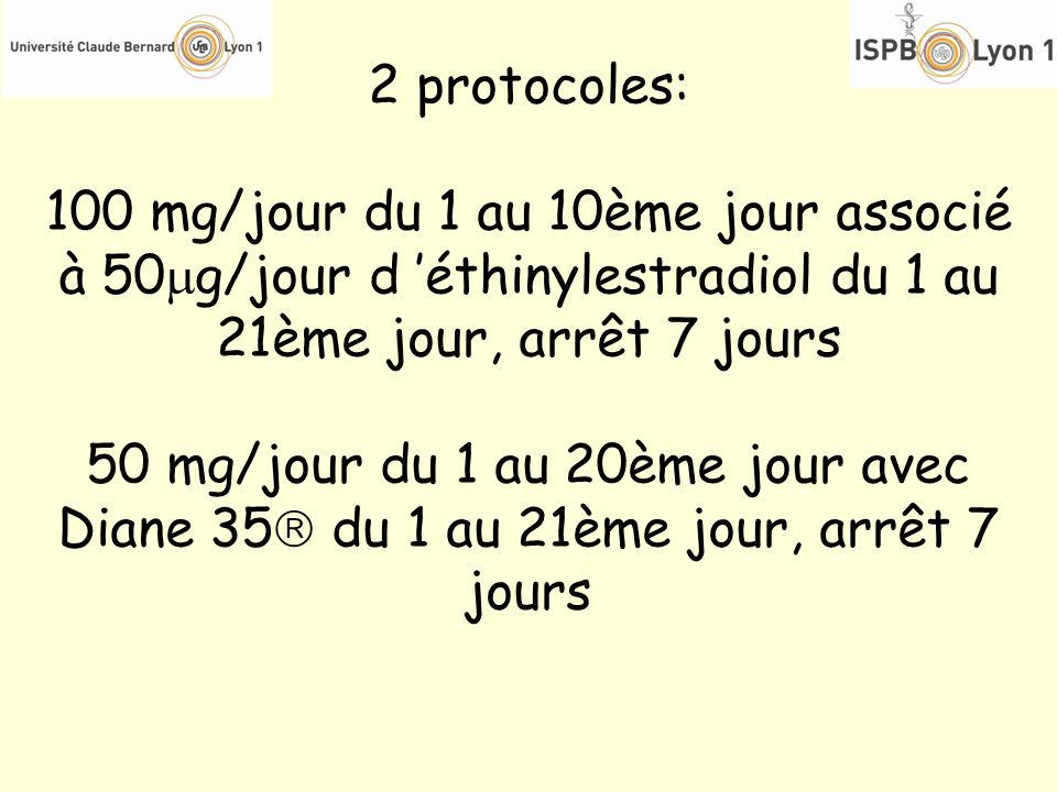 2 protocoles: 100 mg/jour du 1 au 10ème jour associé à 50g/jour d 'éthinylestradiol du 1 au 21ème jour, arrêt 7 jours.