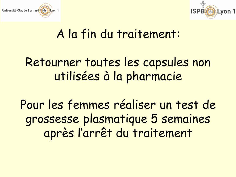 Retourner toutes les capsules non utilisées à la pharmacie