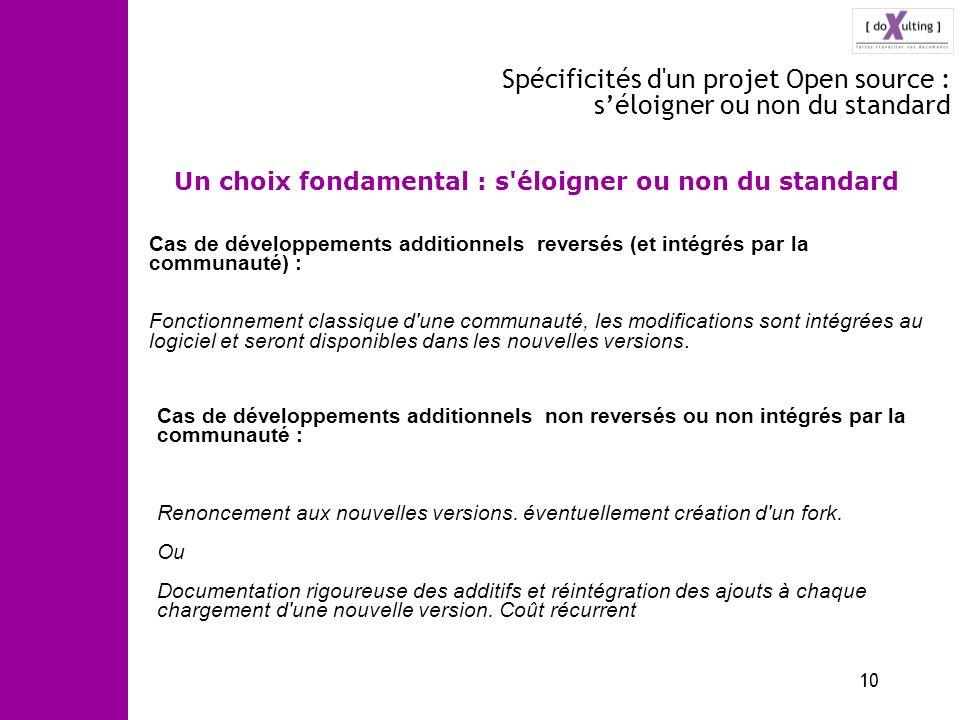 Spécificités d un projet Open source : s'éloigner ou non du standard