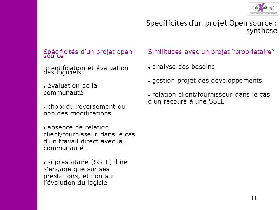 Spécificités d un projet Open source : synthèse