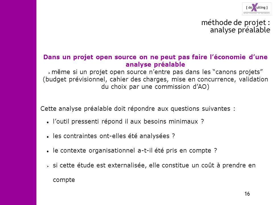 méthode de projet : analyse préalable