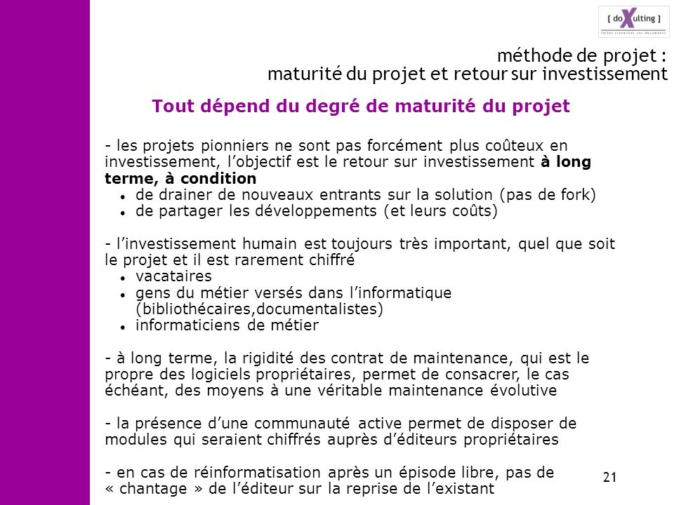 méthode de projet : maturité du projet et retour sur investissement