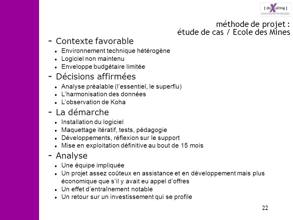 méthode de projet : étude de cas / Ecole des Mines