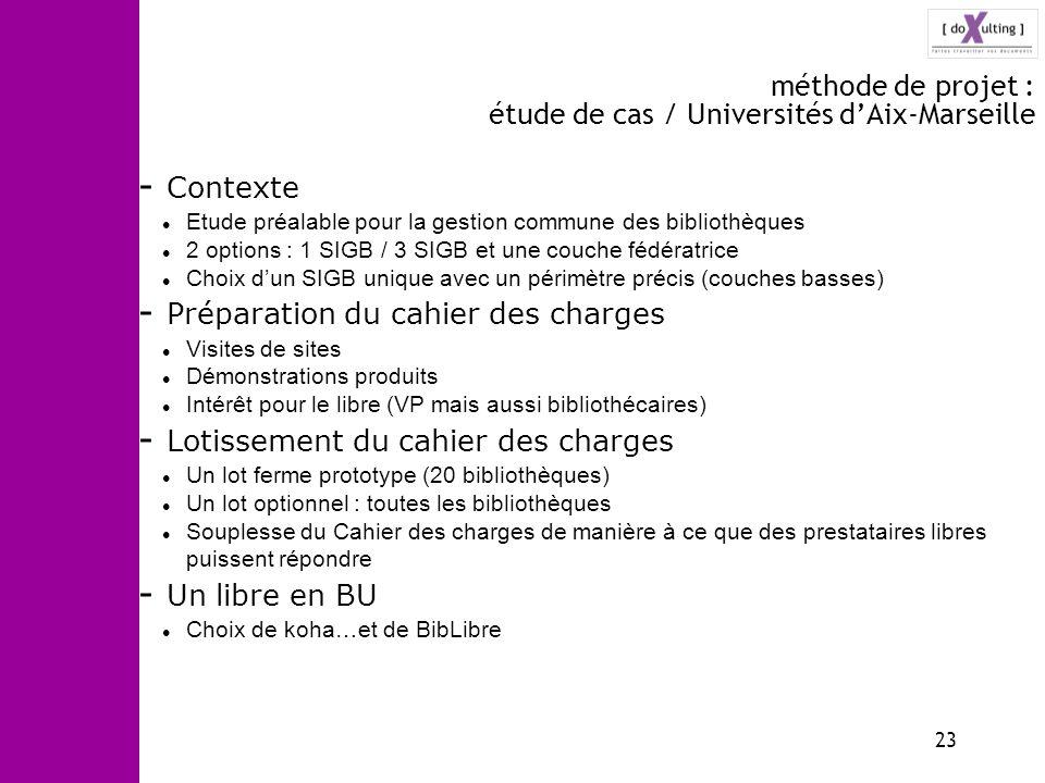 méthode de projet : étude de cas / Universités d'Aix-Marseille
