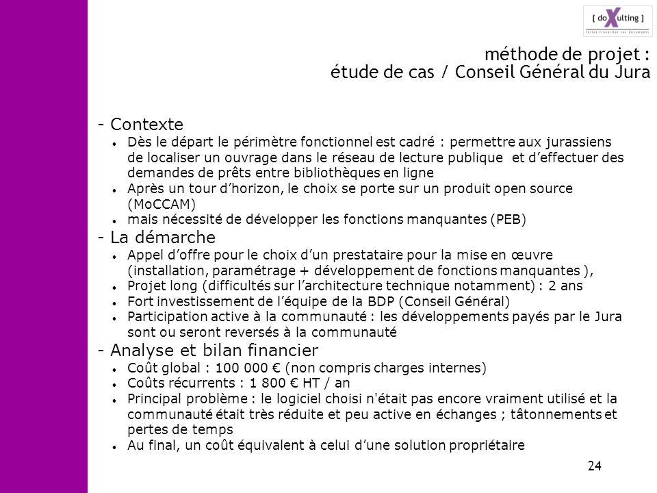 méthode de projet : étude de cas / Conseil Général du Jura