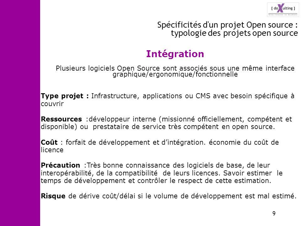 Spécificités d un projet Open source : typologie des projets open source