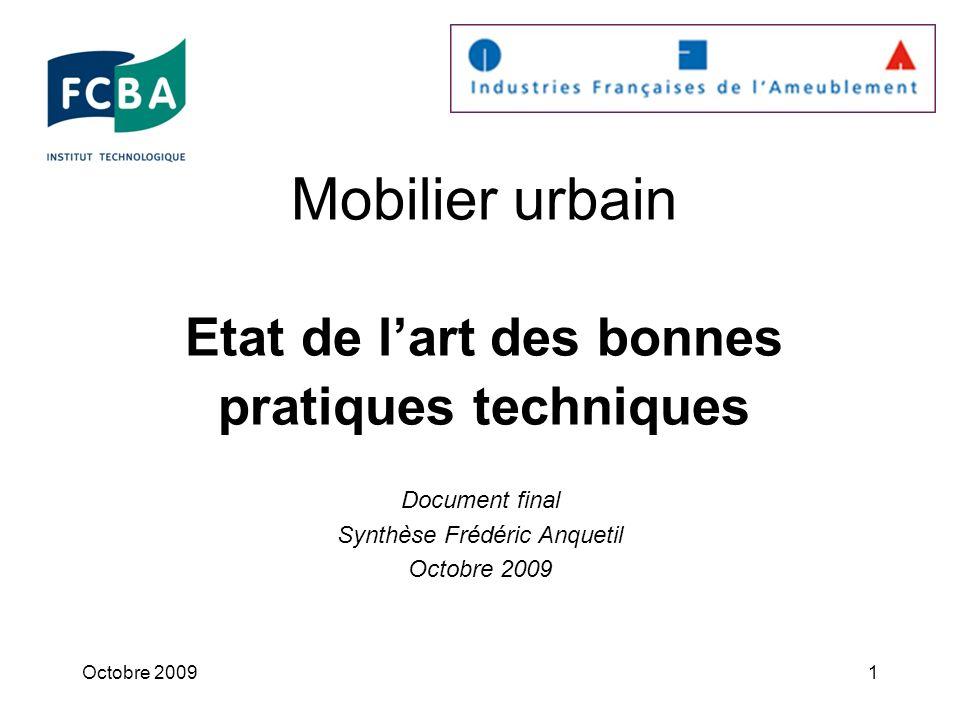 Mobilier urbain Etat de l'art des bonnes pratiques techniques