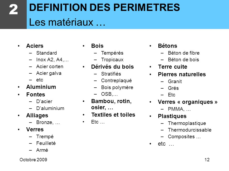 2 DEFINITION DES PERIMETRES Les matériaux … Aciers Aluminium Fontes