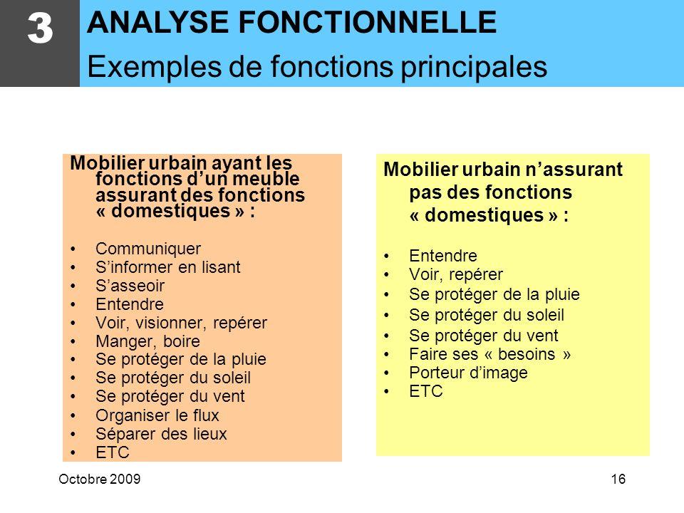 3 ANALYSE FONCTIONNELLE Exemples de fonctions principales