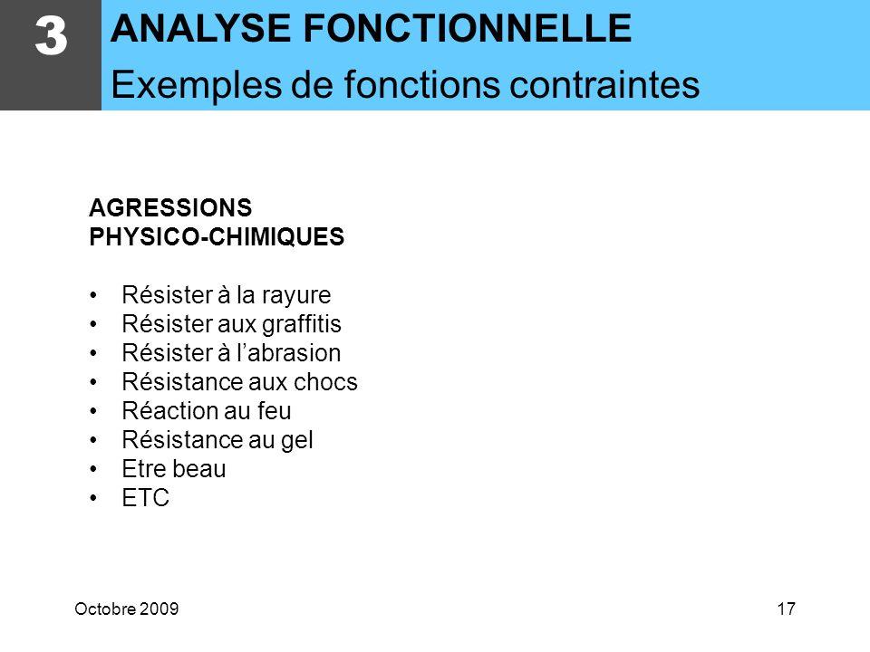 3 ANALYSE FONCTIONNELLE Exemples de fonctions contraintes AGRESSIONS
