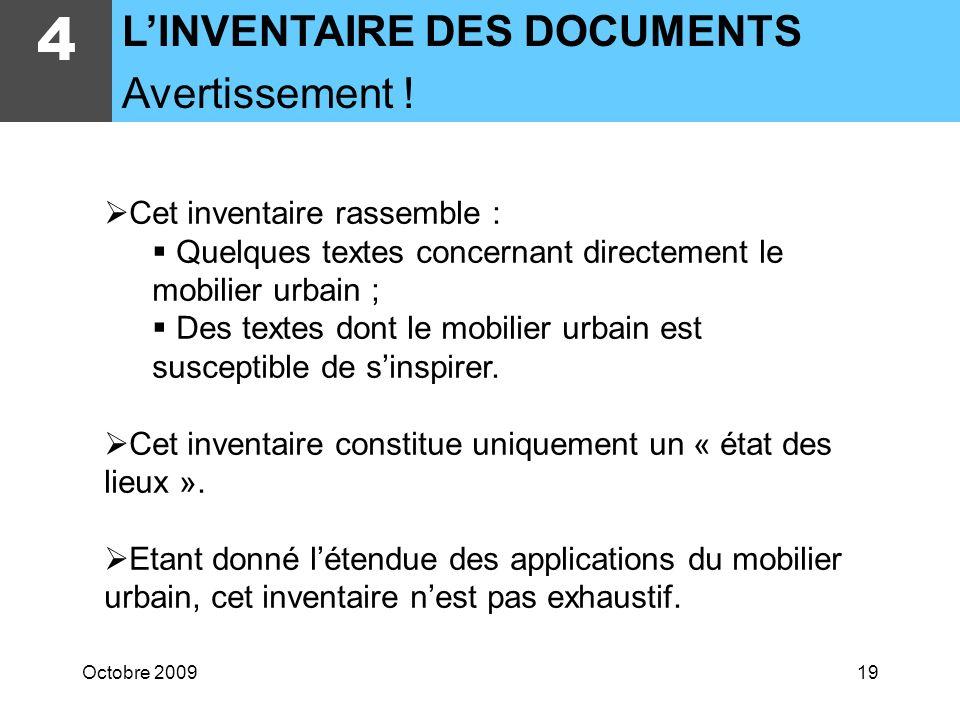 4 L'INVENTAIRE DES DOCUMENTS Avertissement !