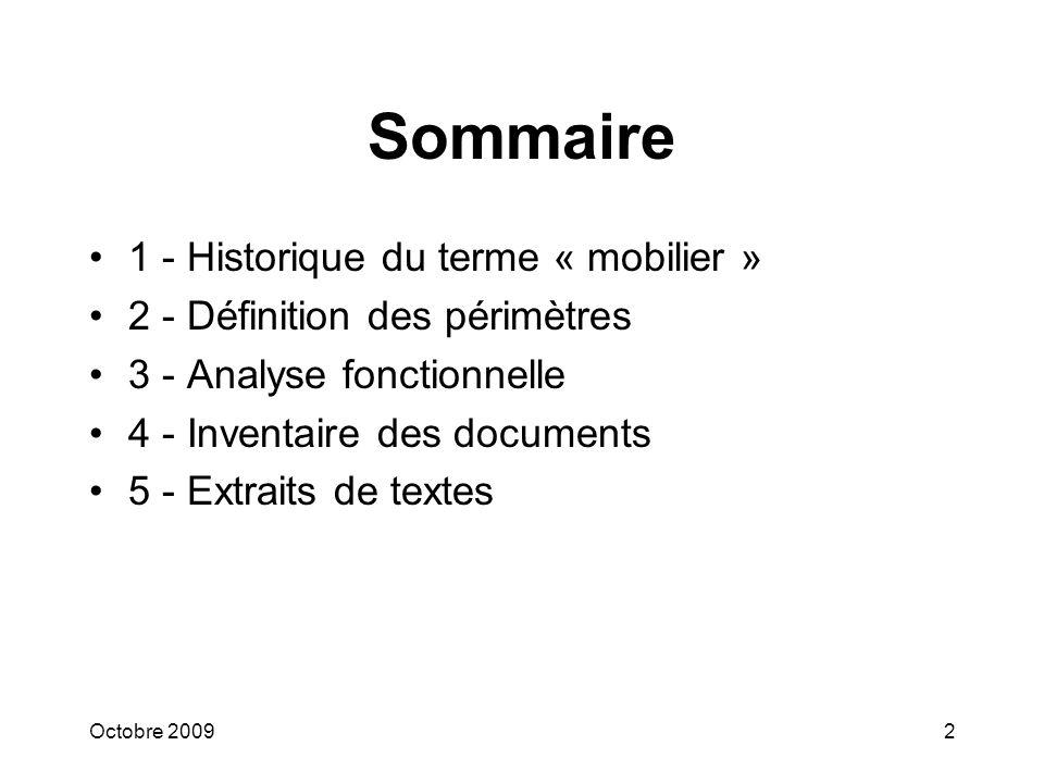 Sommaire 1 - Historique du terme « mobilier »