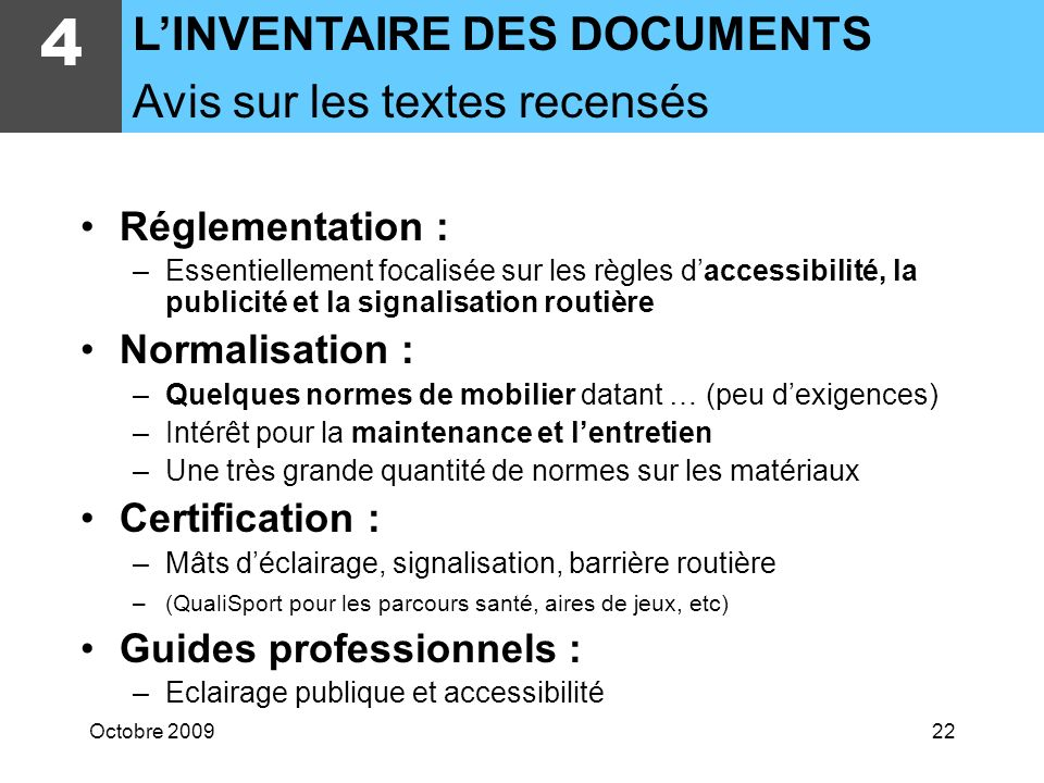 4 L'INVENTAIRE DES DOCUMENTS Avis sur les textes recensés