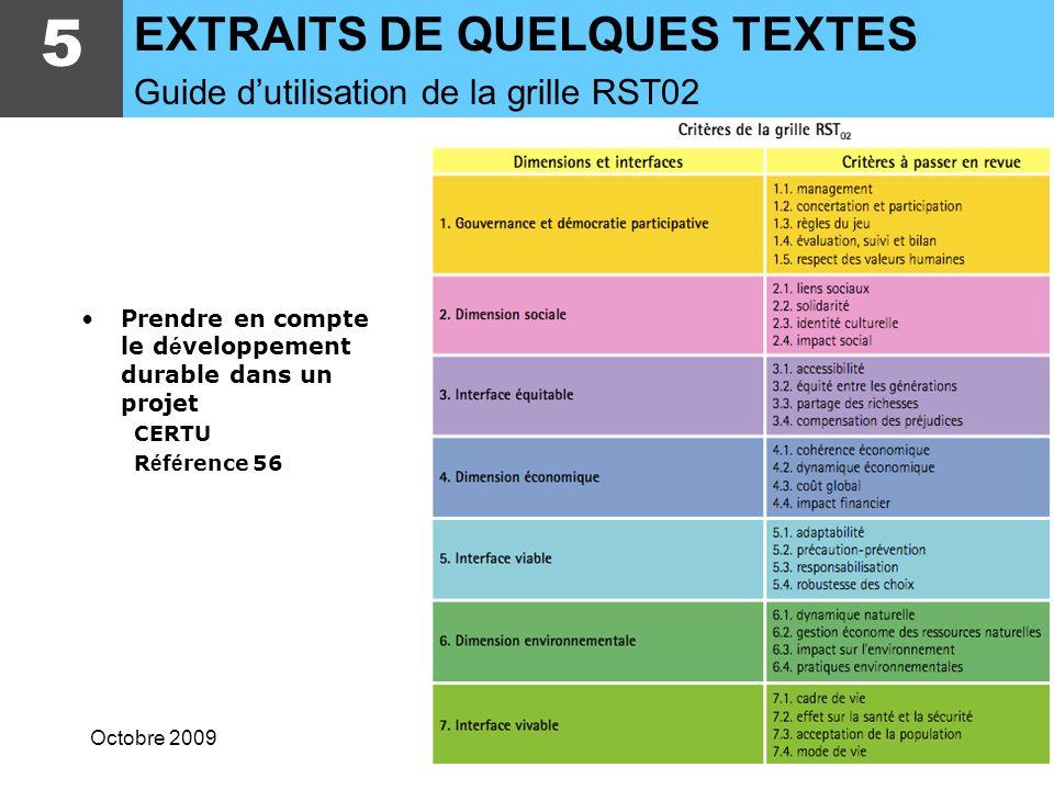 5 EXTRAITS DE QUELQUES TEXTES Guide d'utilisation de la grille RST02