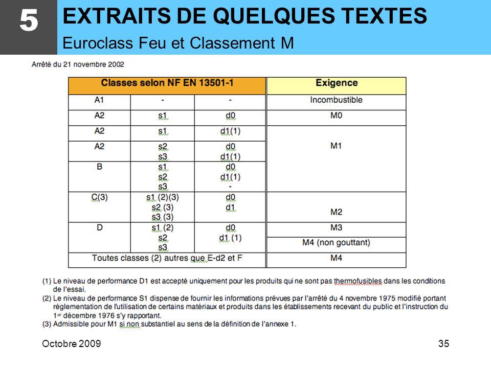 5 EXTRAITS DE QUELQUES TEXTES Euroclass Feu et Classement M